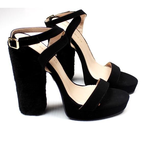 2a27f37995 Shoe Republic LA Shoes | Ankle Strap Fuzzy Heel Sandal | Poshmark
